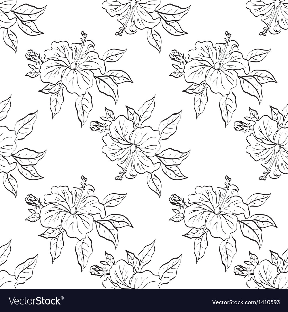 Seamless floral background outline Royalty Vector Image 1000x1080