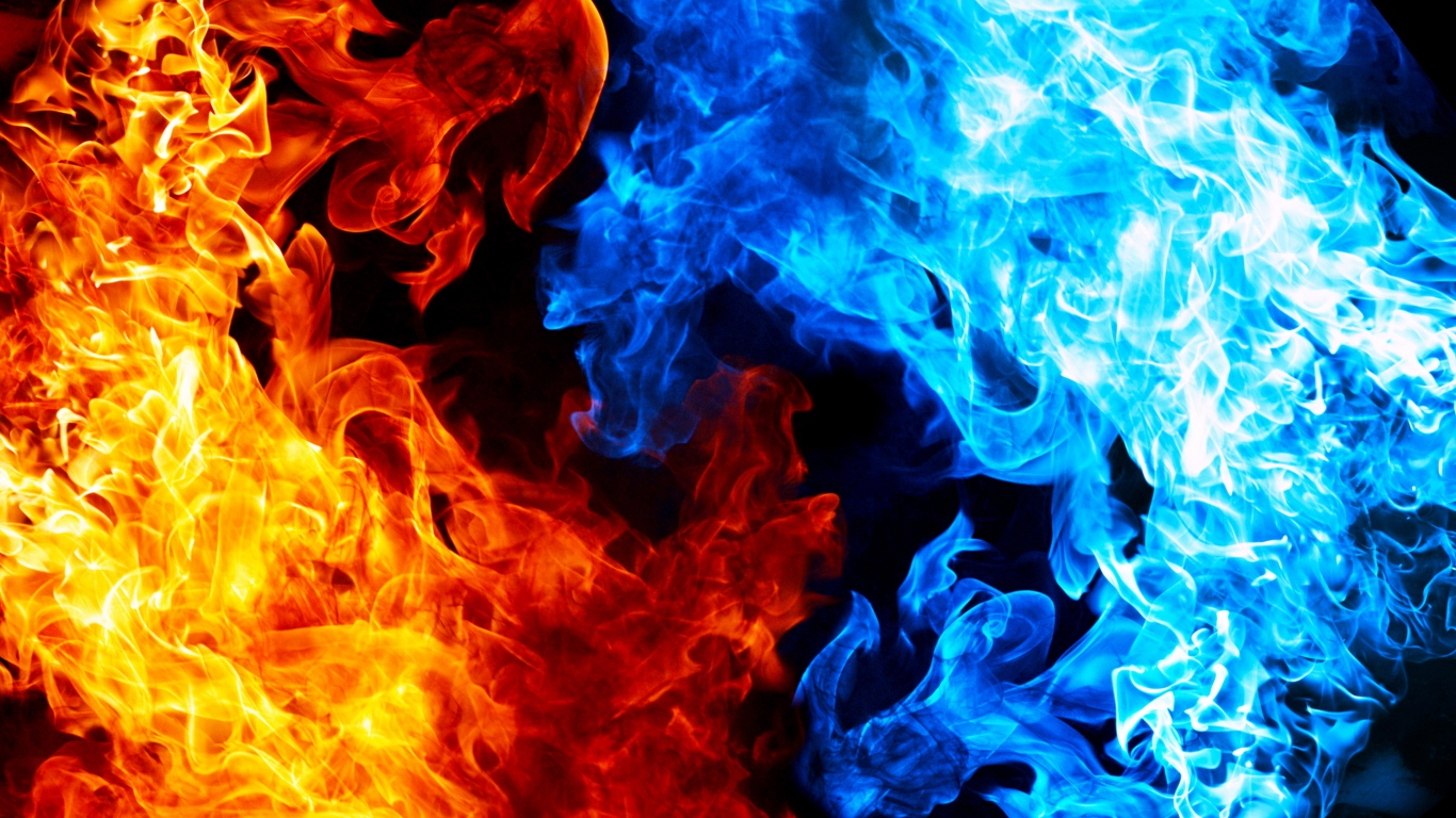 HD Background Red Yellow Blue Flame Texture Pattern Wallpaper 1366x768