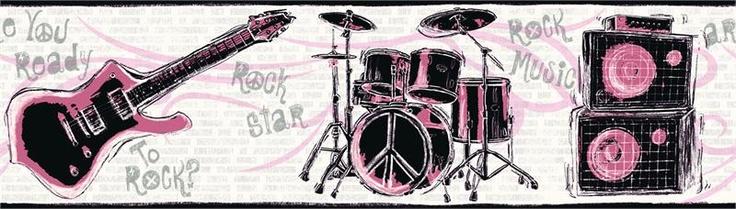 Rock and Roll Wallpaper Border FH Pinterest 736x209