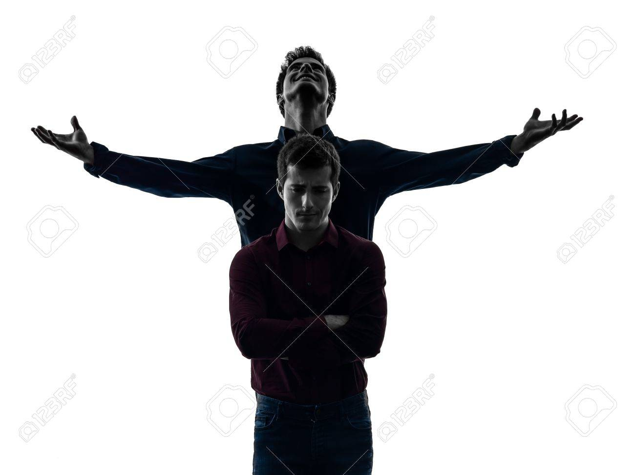 Two Caucasian Young Men Domination Concept Shadow White Background 1300x973