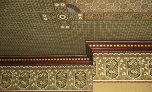 Detail of Elaborate Victorian Wallpaper   In Aesthetic Anglo Japanese 520x315