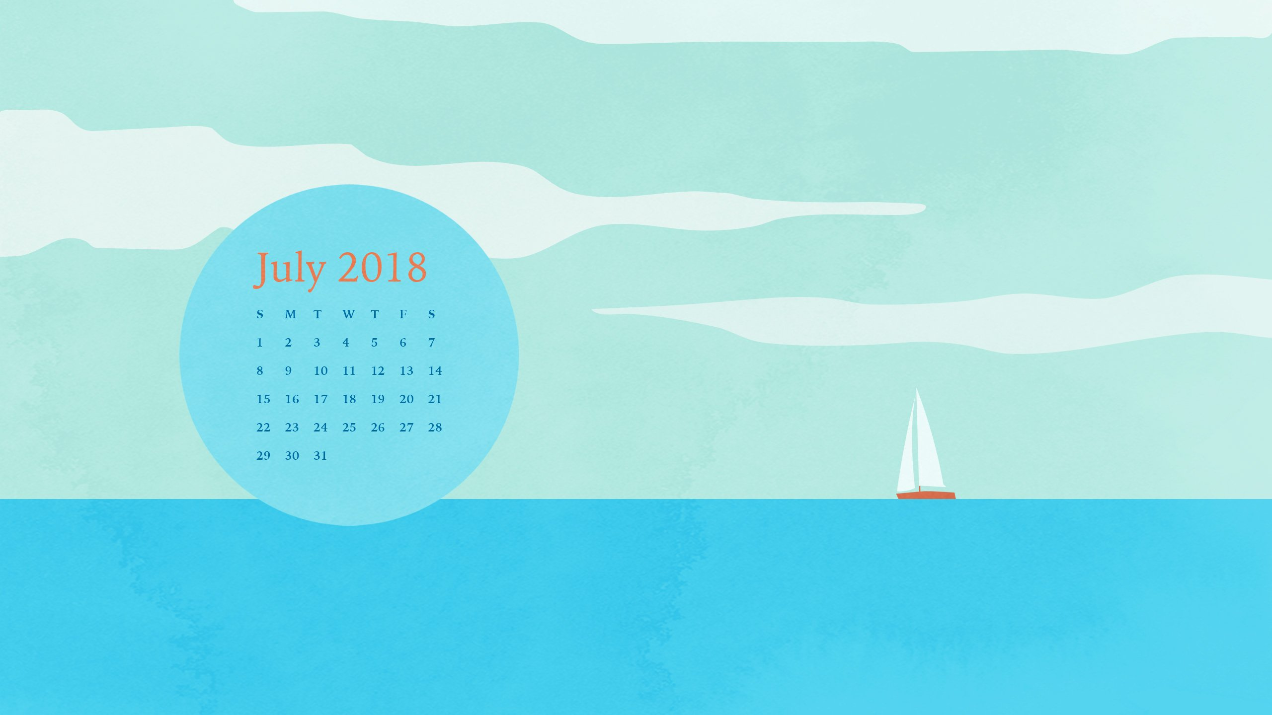 Desktop Calendar and Smartphone Background for July 2018 Eve Sand 2560x1440
