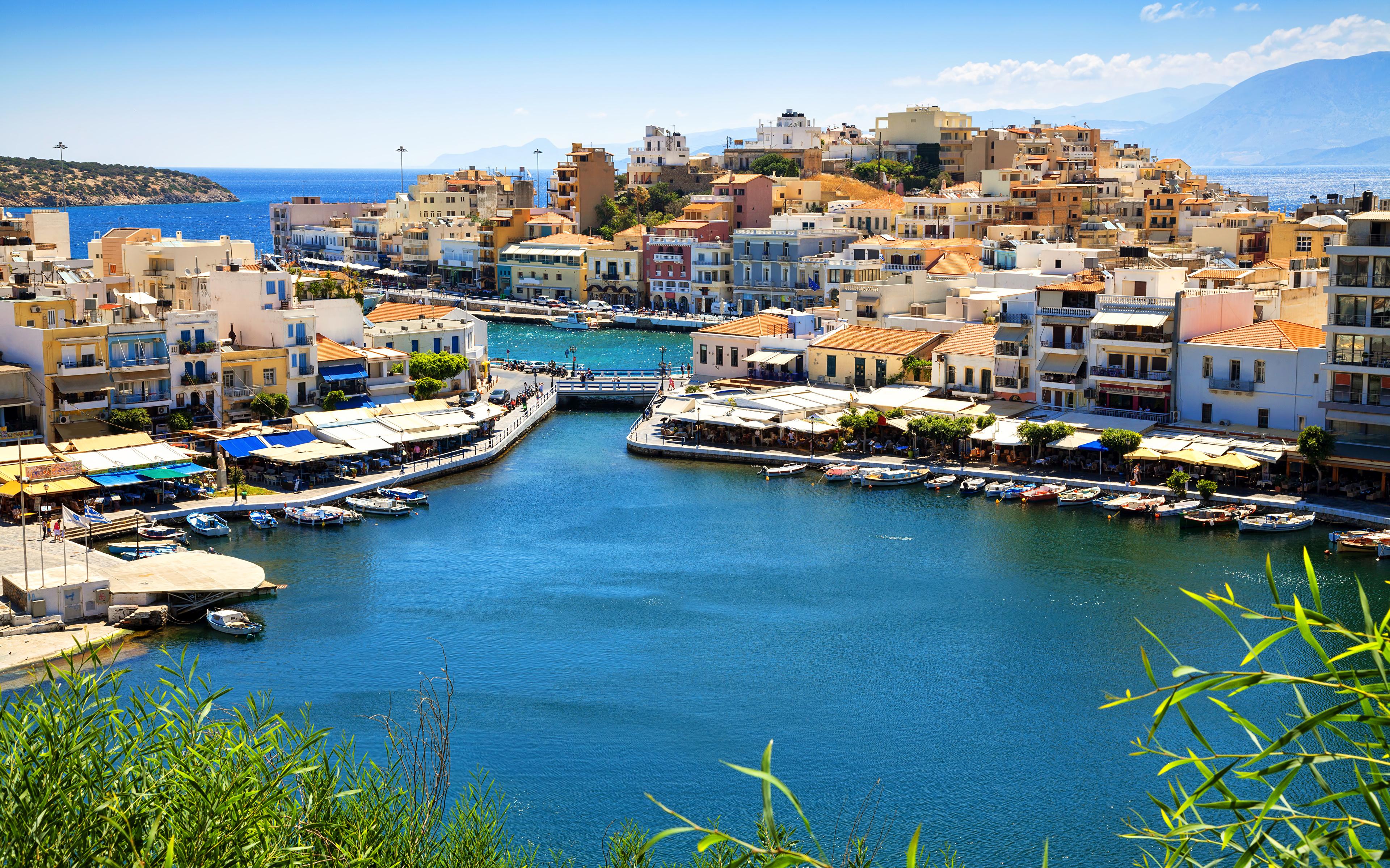 Images Greece Agios Nikolaos Crete Coast Boats Marinas 3840x2400 3840x2400