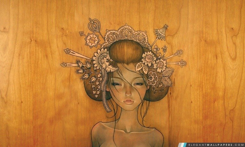 Femme de dessin par Audrey Kawasaki Fond dcran HD tlcharger 800x480