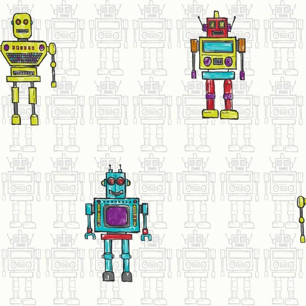 Retro Robot Luxury Metallic Childrens Kids Bedroom Wallpaper 534002 1000x1000