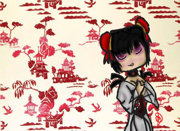 Japanese geisha wallpaper by Labelle Tomono on deviantART 600x437