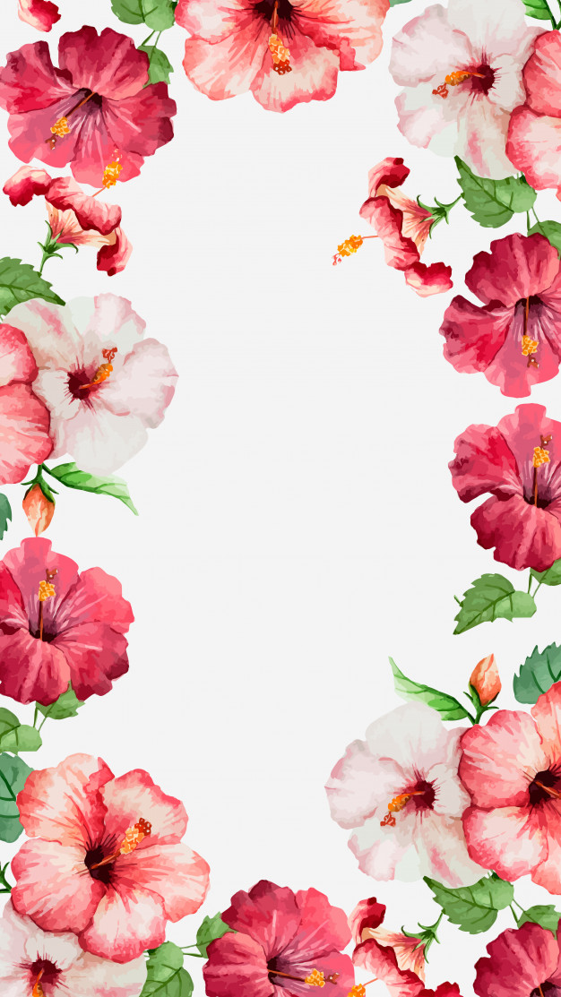 Watercolor hibiscus mobile wallpaper Vector Download 626x1113