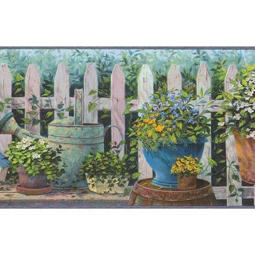 Blue and Green Floral Pots Wallpaper Border Kitchen 500x500