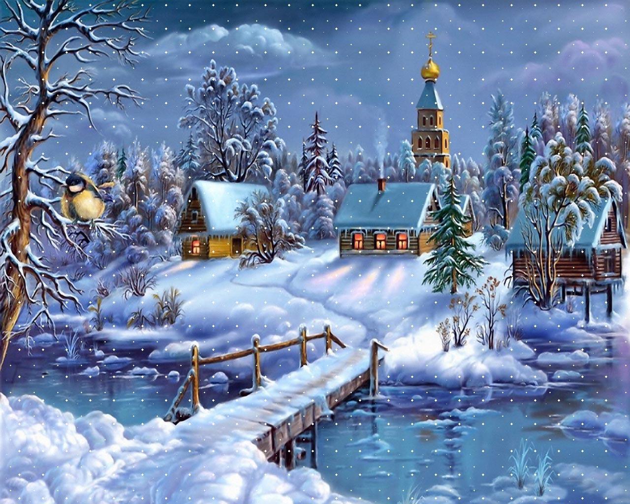Free animated snow scene wallpaper wallpapersafari desktop wallpaper winter scenes wwwwallpapers in hdcom 1280x1024 voltagebd Image collections