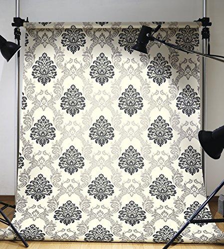 Ab2027 Black And White Damask Wallpaper Creamgrayblack 449x500