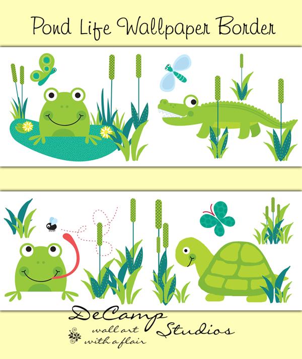 Frog Turtle Alligator Wallpaper Border Wall Decals Pond Sealife [339 600x715