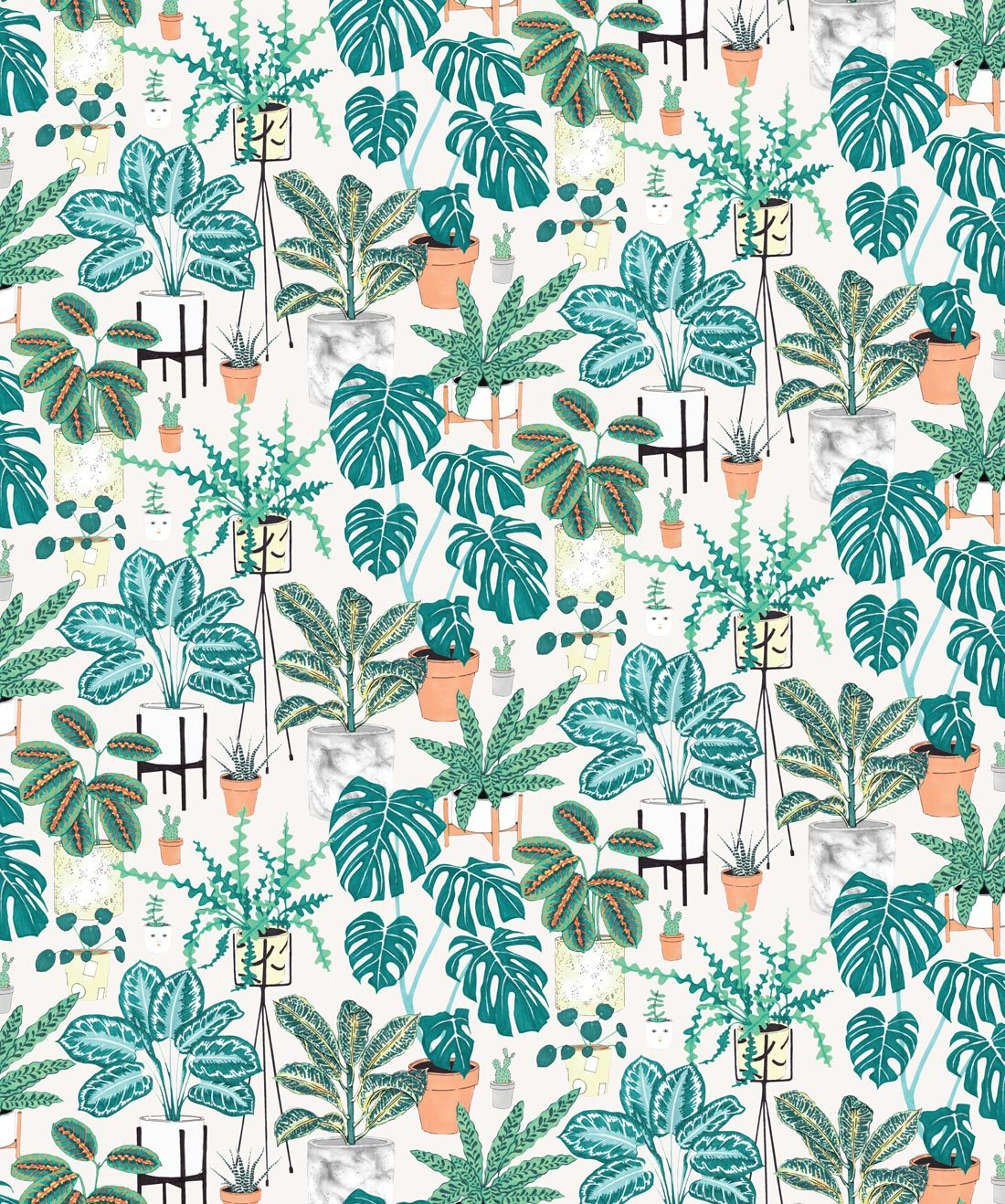 House Plants Bright Bold Botanical Wallpaper Milton King 1100x1318