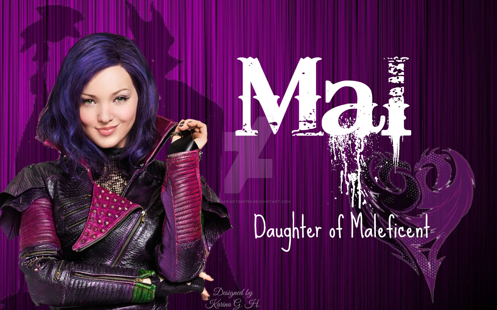 Disney Descendants Mal daughter of Maleficent by KariaHearts56789 1600x1000