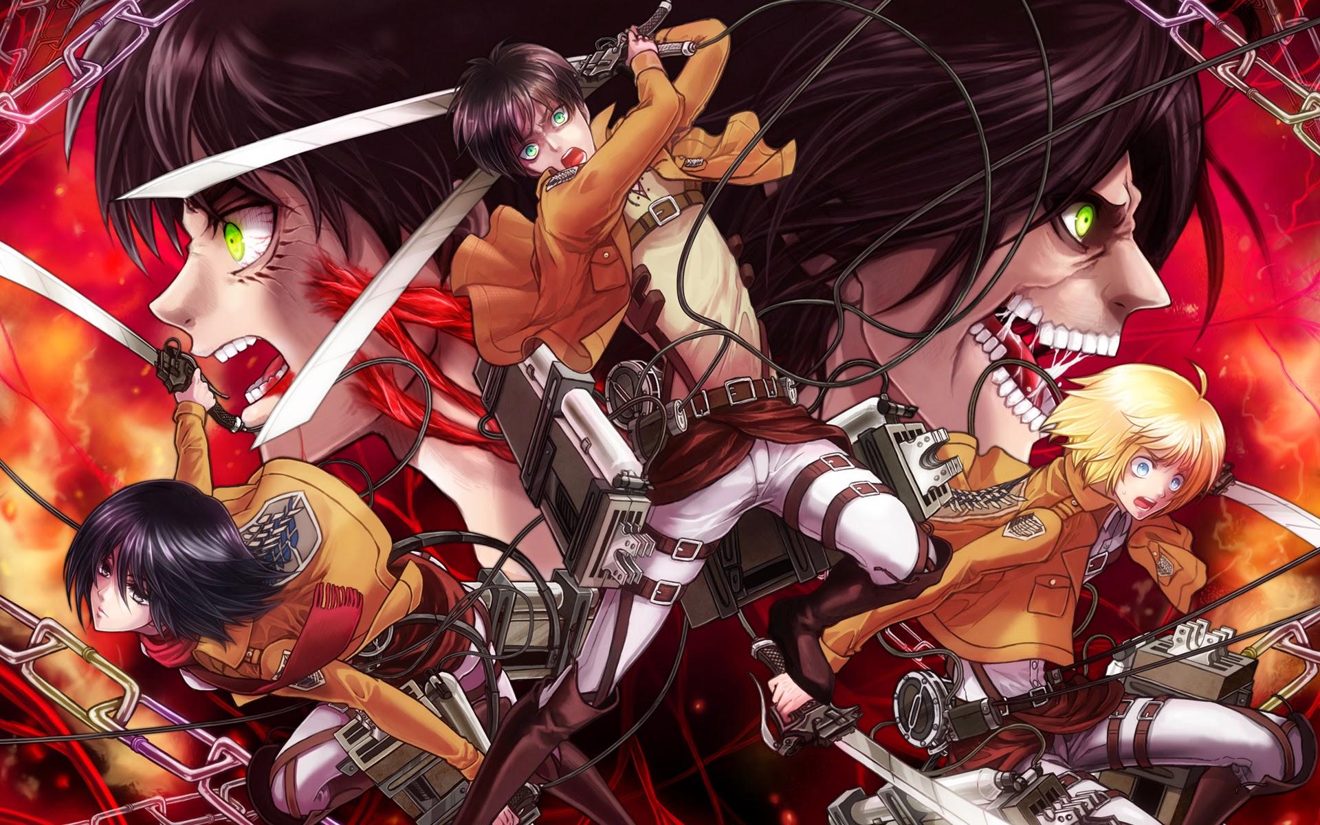 Attack On Titan Wallpaper Eren Mikasa Armin   Wallpapers 1920x1200