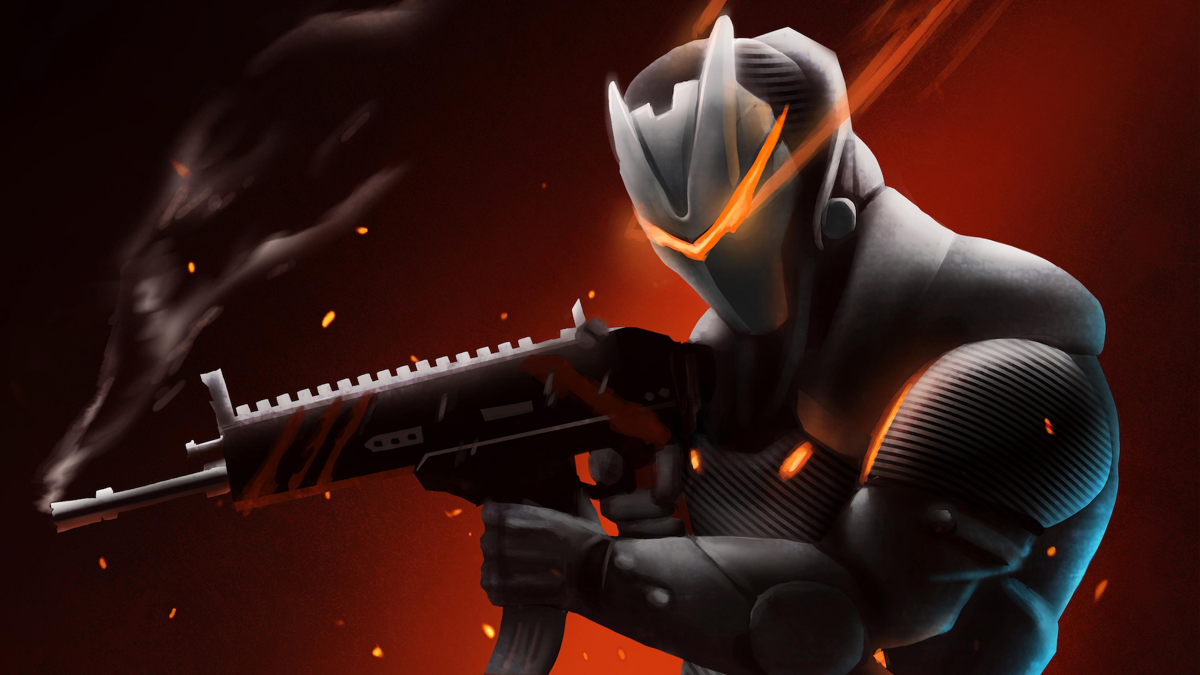Wallpaper 4k Omega With Rifle Fortnite Battle Royale 2018 games 3840x2160
