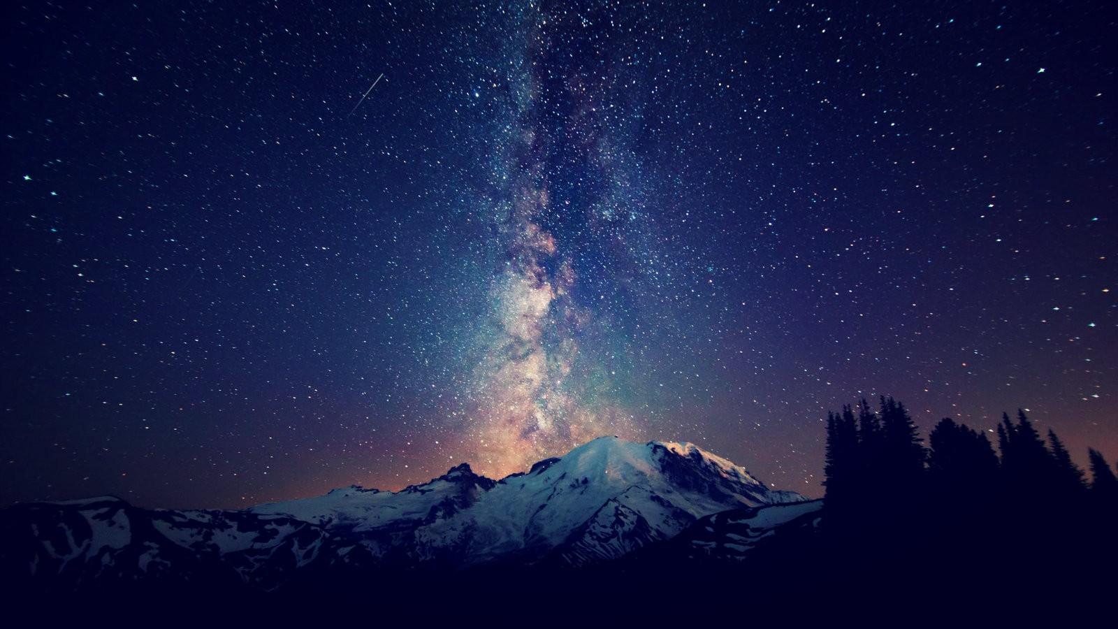 Mountain blue mountain nature night star 1600x900