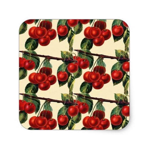 Antique Red Cherry Fruit Wallpaper Design Square Stickers Zazzle 512x512