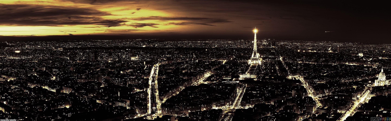 Paris at night wallpaper 11176   Open Walls 2880x900