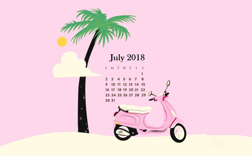 July 2018 Desktop Calendar calendar Calendar wallpaper 1052x655