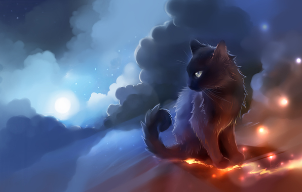 Wallpaper warrior cats clouds fire sparks lava wallpapers 596x380