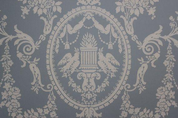 Antique Vintage Wallpaper Victorian Blue Lovebirds  Made in England 570x380