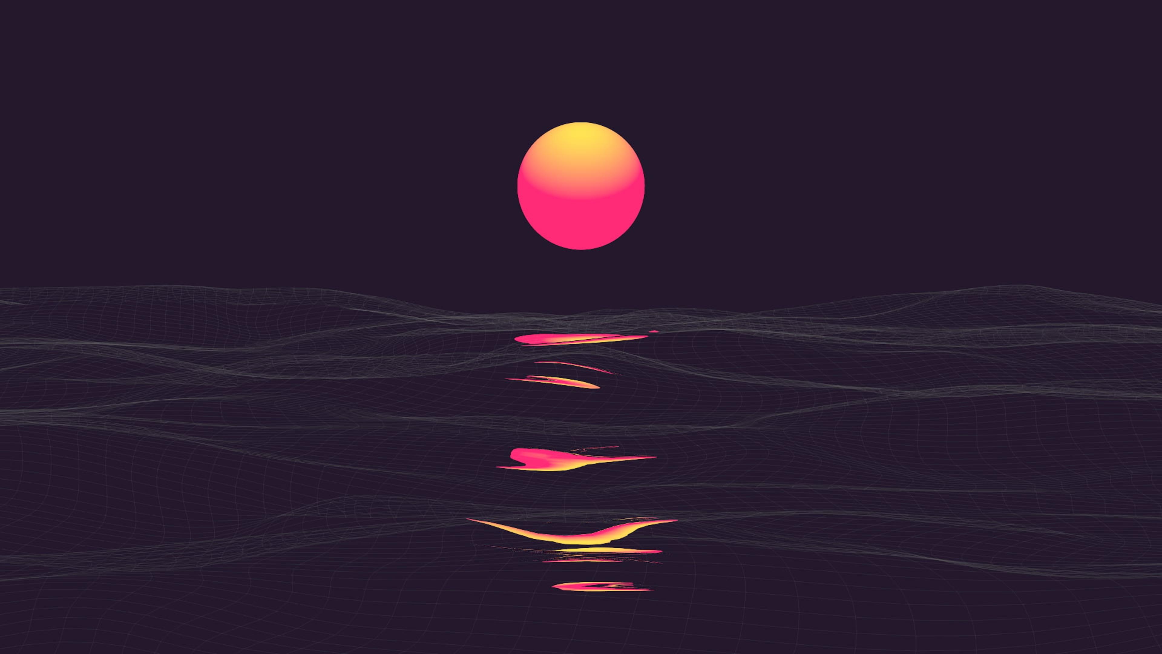 Orange and Red Sun Illustration 4K wallpaper 3840x2160