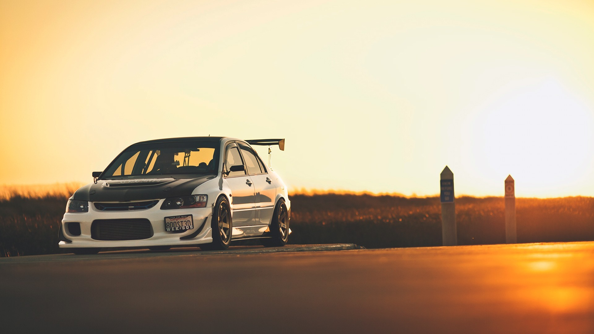 car Sunset Mitsubishi Evo Wallpapers HD Desktop and Mobile 1920x1080