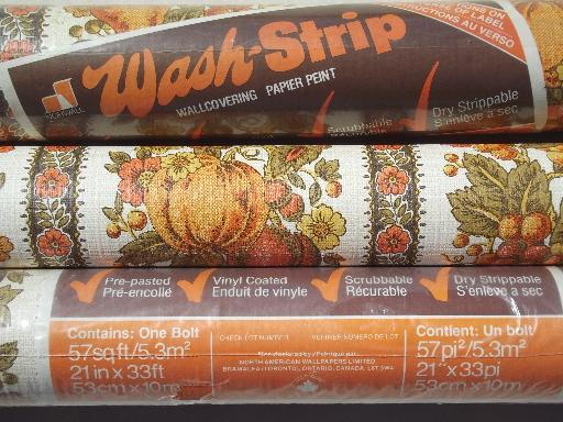 Vintage wallpaper lot retro 70s fruit print paper in orange harvest 512x384