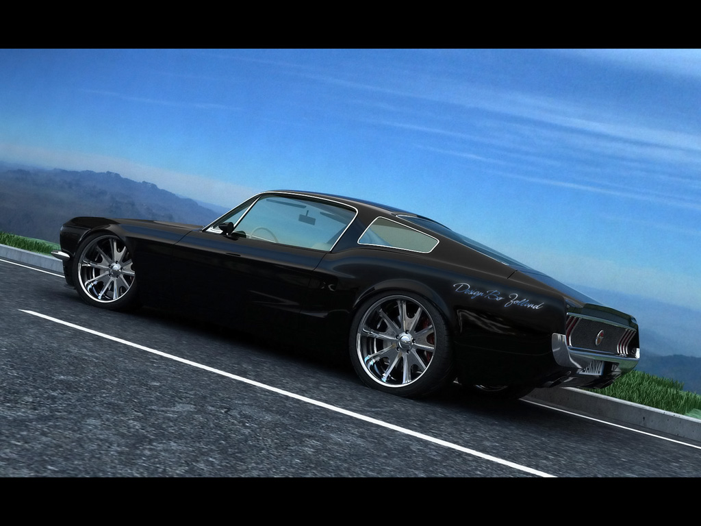 Classic Mustang Fastback by Vizualtech   Black Rear And Side 1024x768