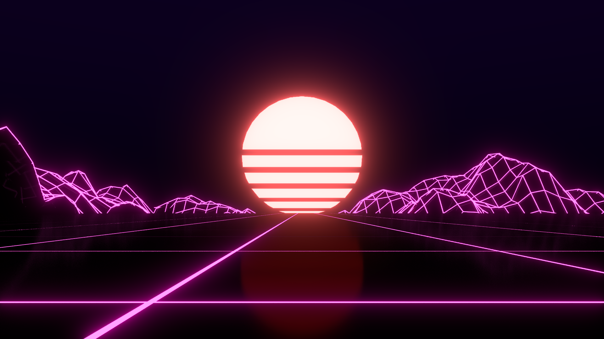 First try at a Retrowave Wallpaper outrun 1920x1080