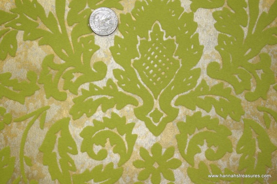 1970s Vintage Wallpaper Green Flocked Leaf by kitschykoocollage 15 570x380