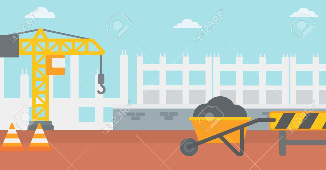 Background Of Construction Site With Road Barriers And Wheelbarrow 1300x680
