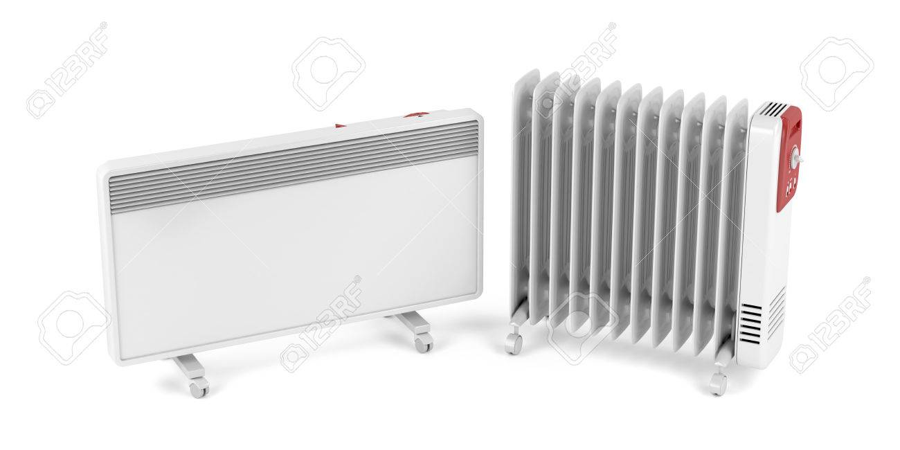 Electric Convection And Oil filled Heaters On White Background 1300x650