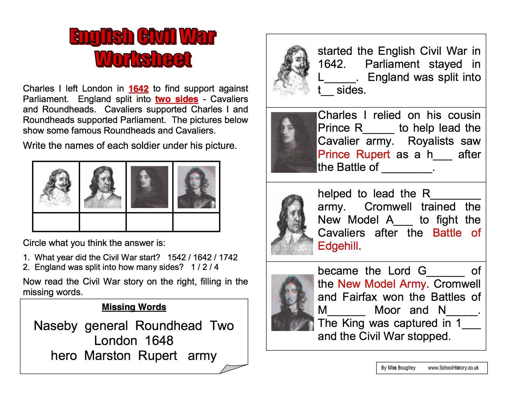 English Civil War Background Worksheet Year 8 Study Sophia 1650x1275