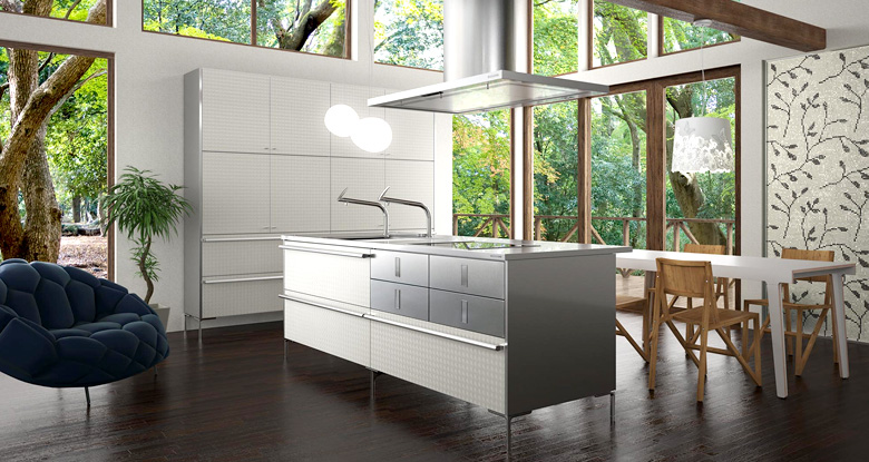 kitchen wallpaper cabinet island white OLPOS Design 780x415