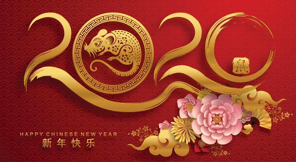 Happy chinese new year 2020 Zodiac sign year of the rat This 1000x547