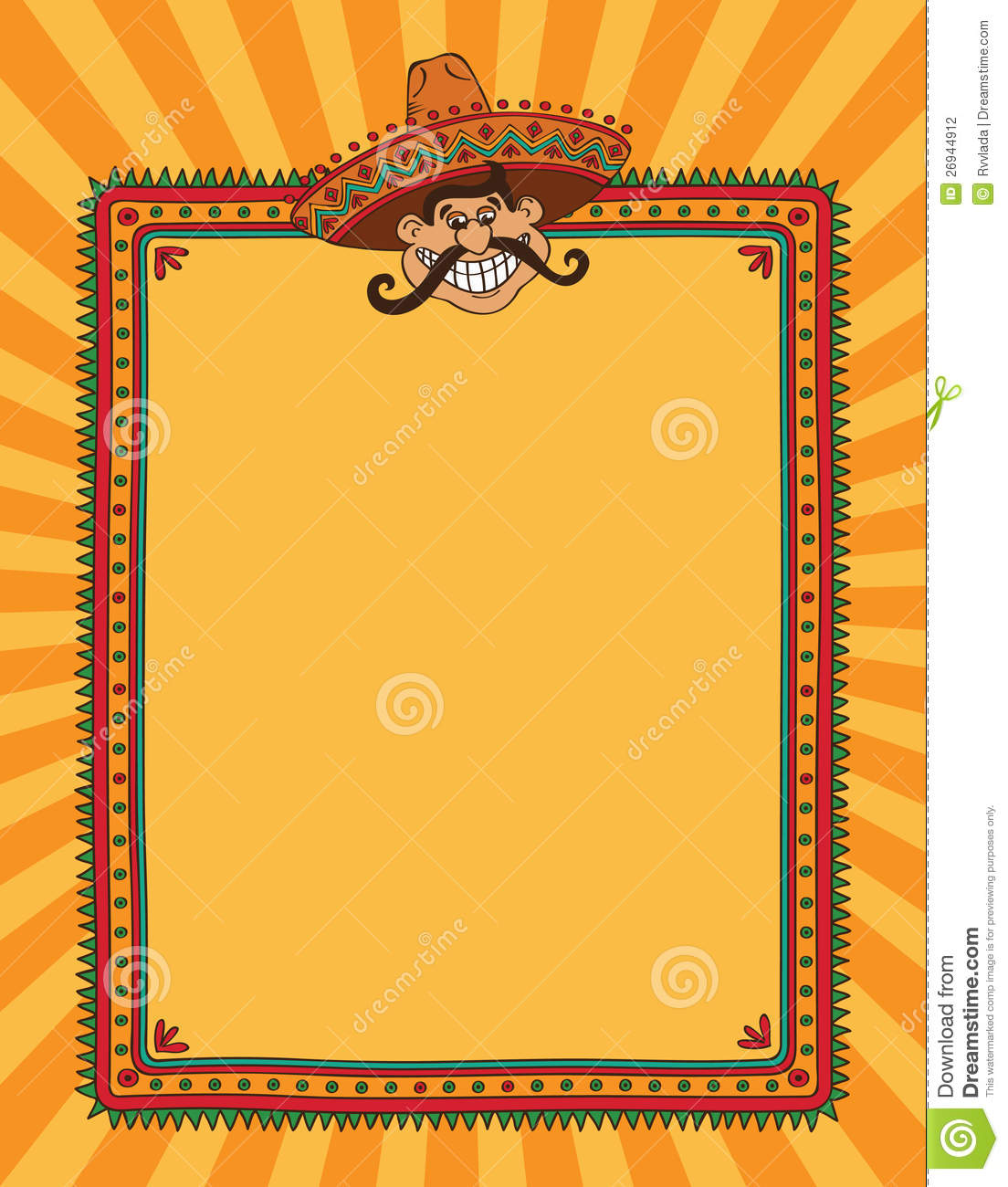 Mexican Fiesta Border Mexican frame with man in 1104x1300