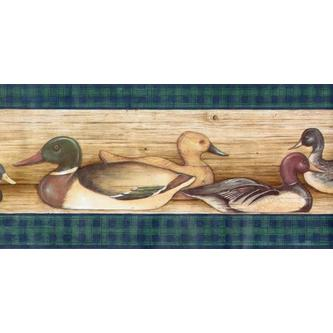 Rolling Borders Ducks Lodge Hunting Birds Wallpaper Border   Green 500x247
