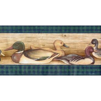 Rolling Borders Ducks Lodge Hunting Birds Wallpaper Border   Green 500x247