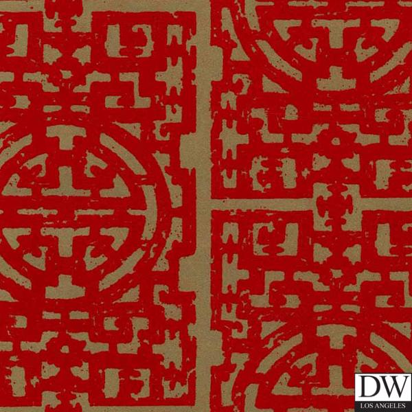 126 Chinese Fret Flocked Velvet Wallpaper   Red Flock on aged gold 720x960