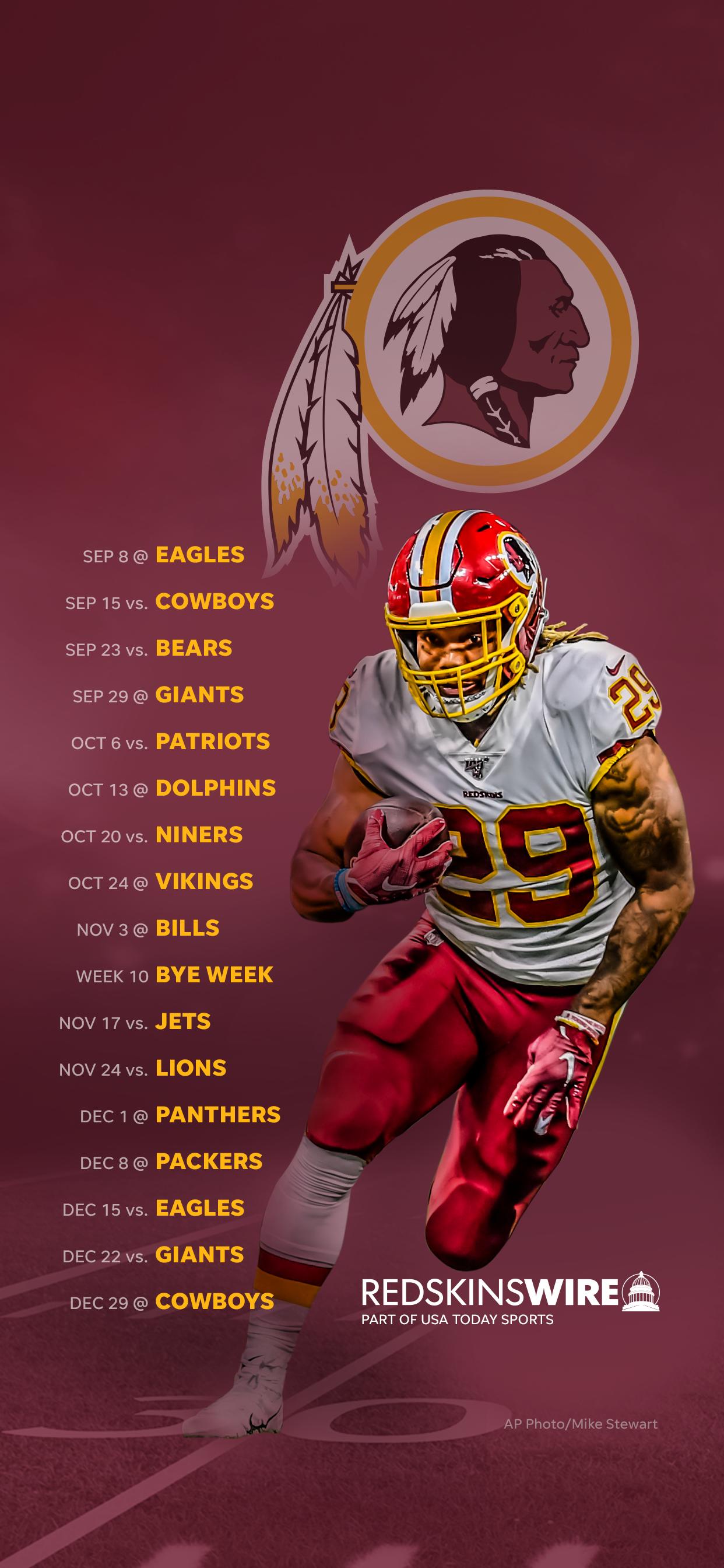2019 Washington Redskins Schedule Downloadable Wallpaper 1242x2688