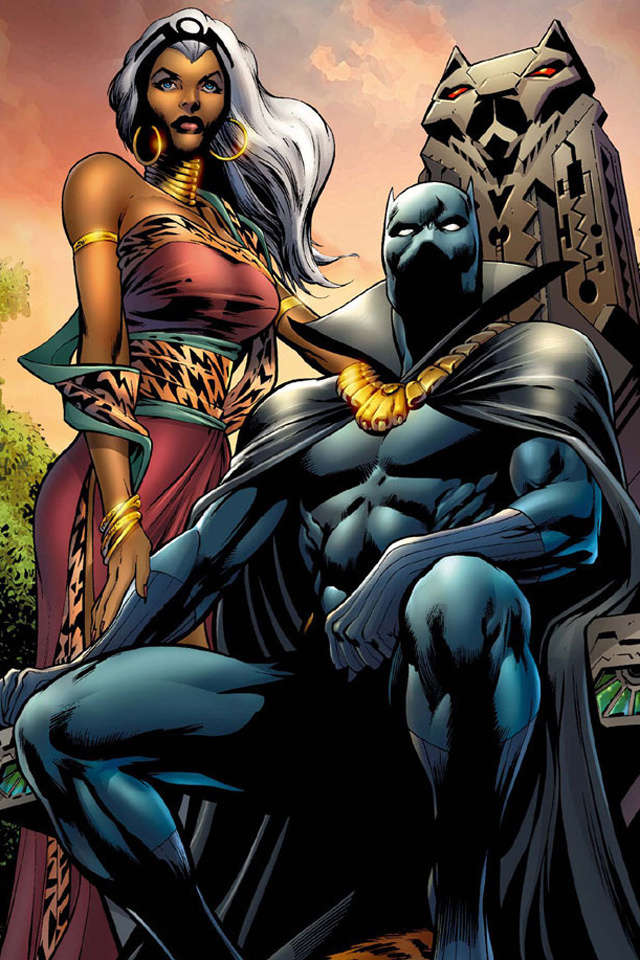 Black Panther I4 drawns cartoons wallpaper for iPhone download 640x960