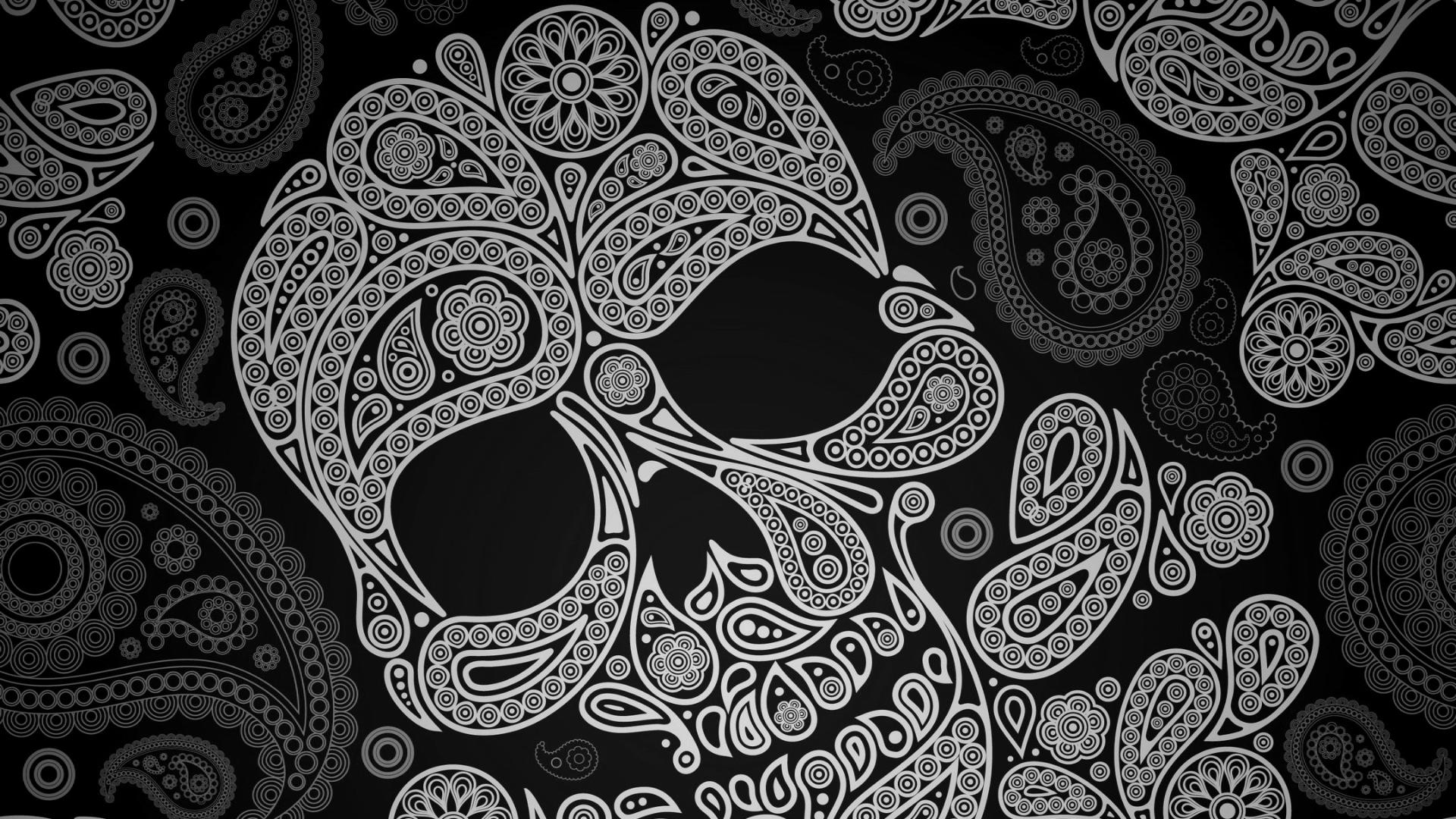 Girly Sugar Skull Wallpaper Paisley skull wallpaper 1920x1080