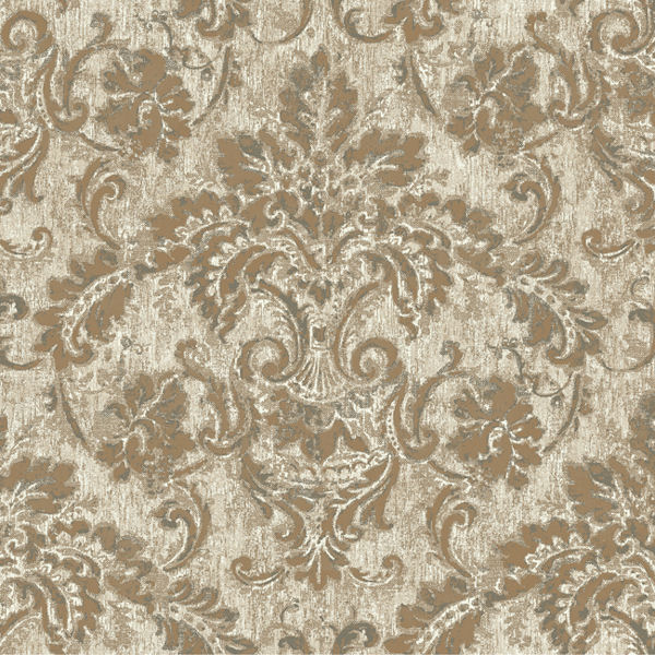 Gold and Brown Antique Damask Wallpaper   Wall Sticker Outlet 600x600