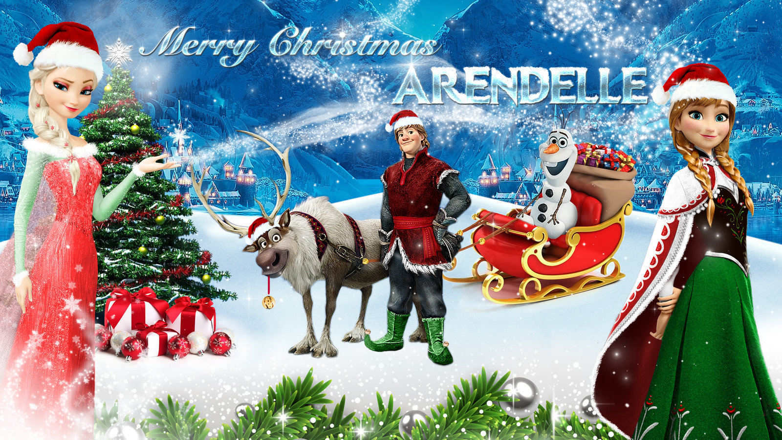 Frozen   1920x1080 Merry Christmas Arendelle 2 by CoGraphiC on 1600x900