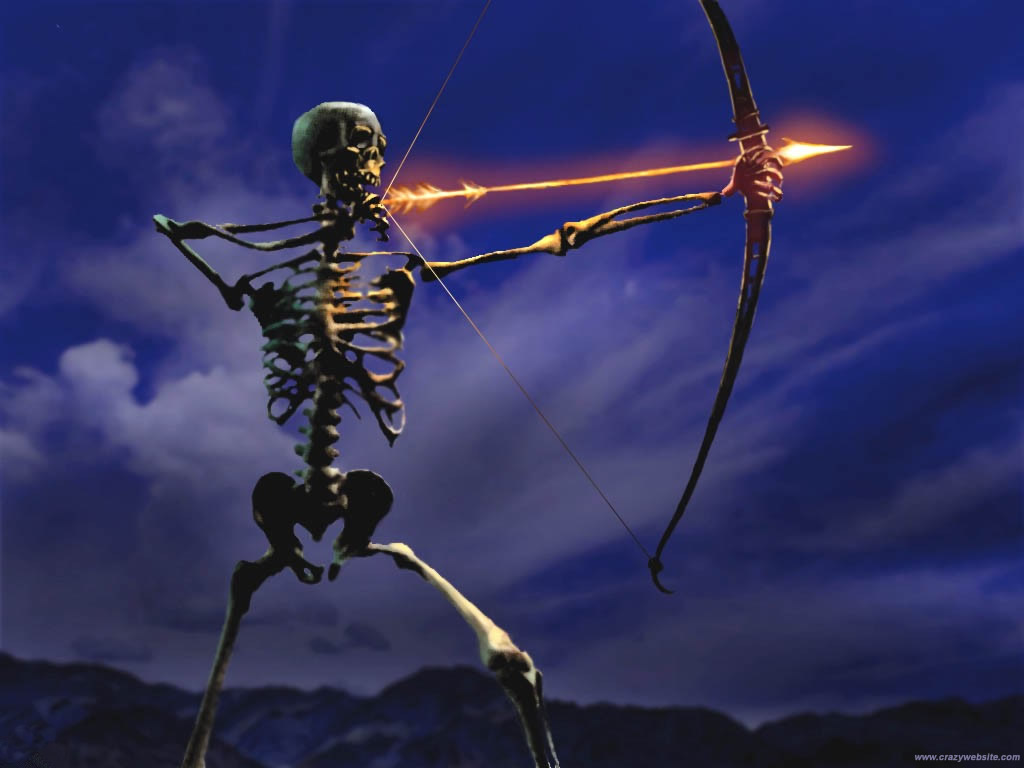 Funny archery sports theme widescreen computer wallpaper a skeleton 1024x768