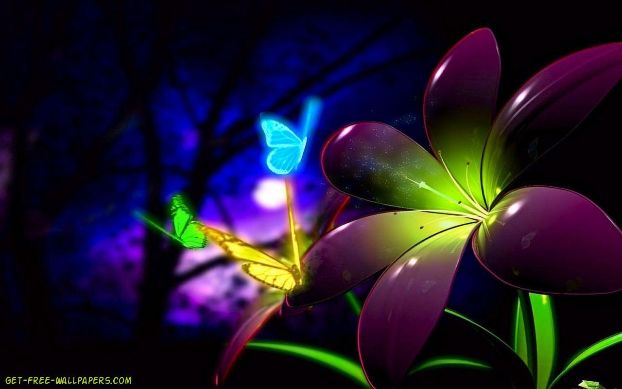Download Fluorescent 3D Flowers Wallpaper 1280x800