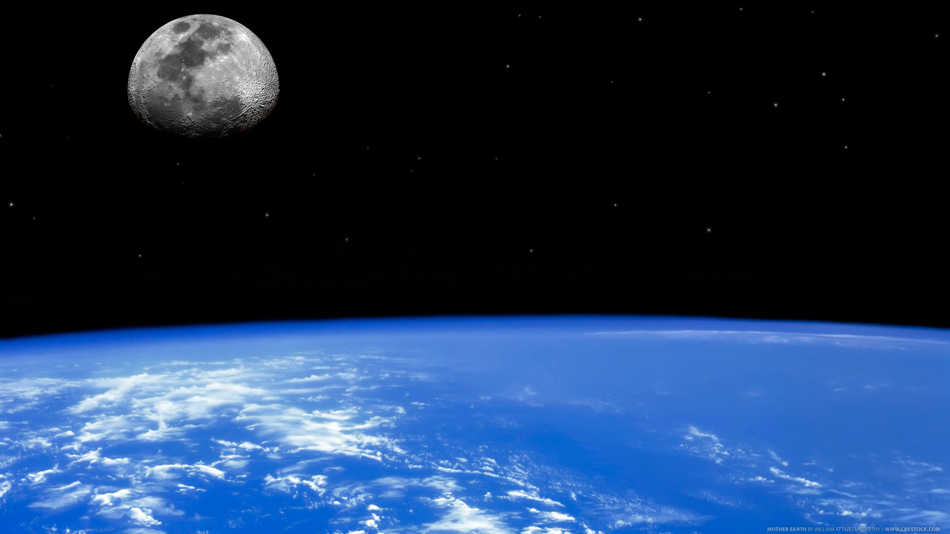 Earth   From Space Moon Horizon Planet Earth Space Wallpaper 1920x1080