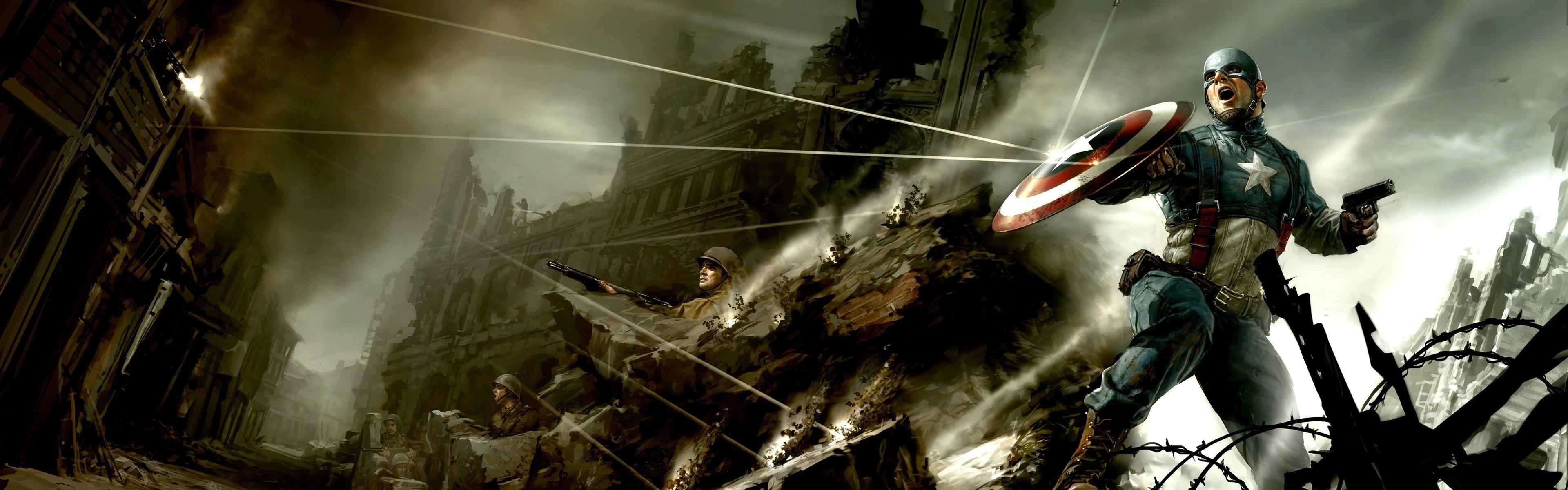 Movies Comics Captain America Concept Art Marvel Steve Rogers 3840x1200