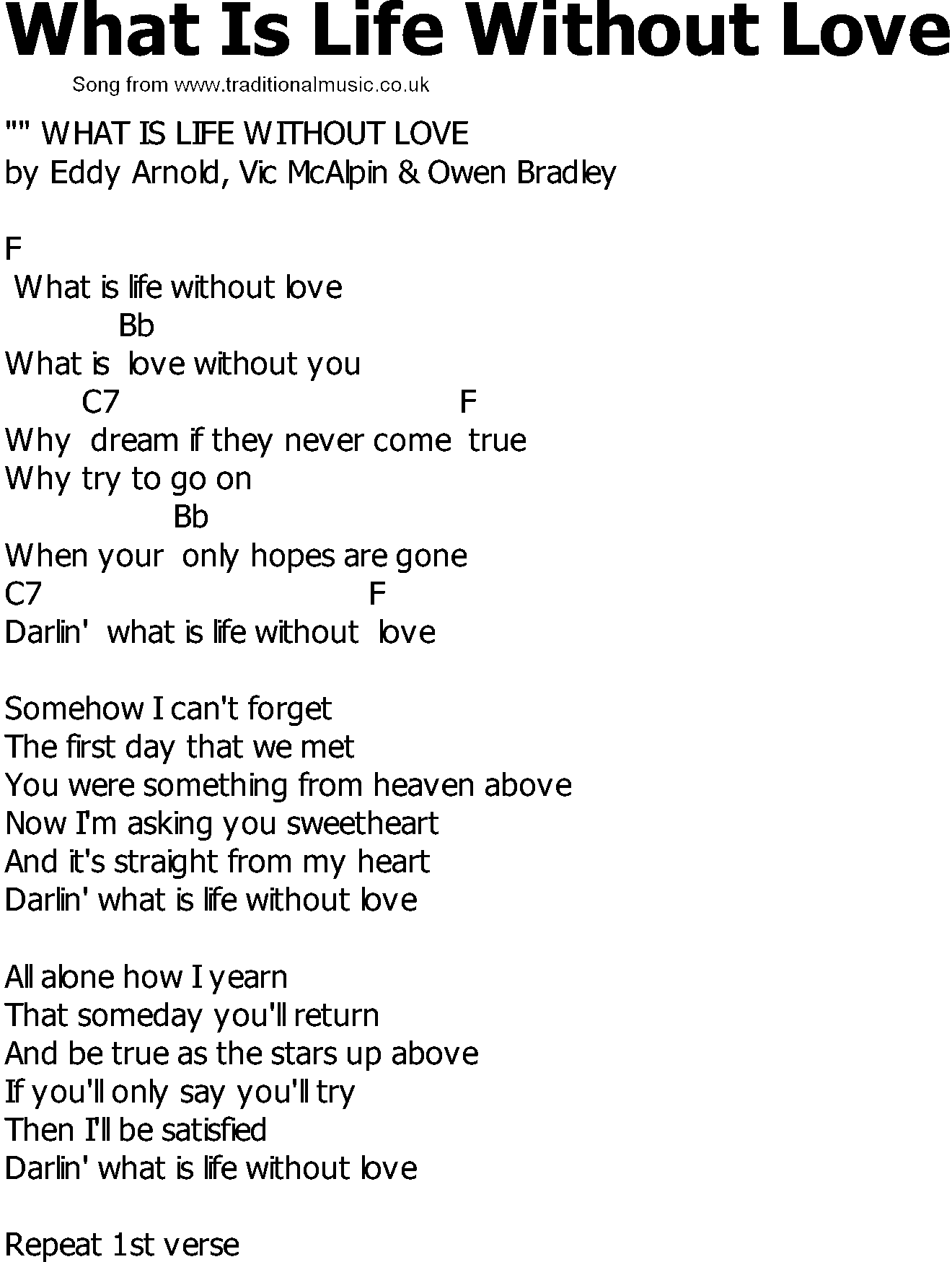 Download Old Country song lyrics with chords   What Is Life Without 1320x1749